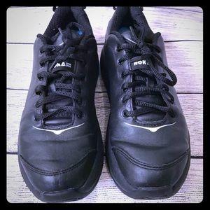Hoka Black Leather Running Shoes